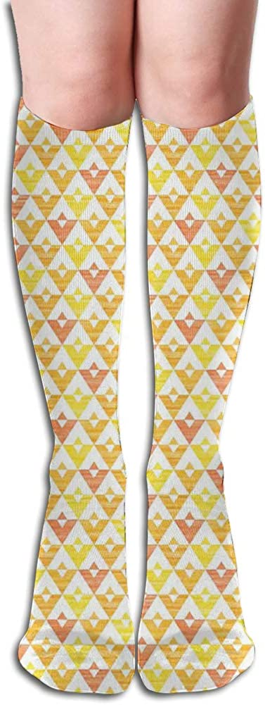 Men's and Women's Funny Casual Combed Cotton Socks,Grunge Composition of Triangles in Warm Colors Acrylic Design Geometric