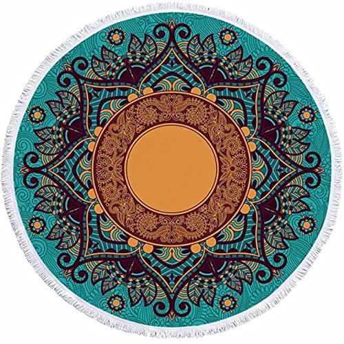 IAMZHL Toalla de Playa Redonda geométrica borlas Toalla de Ducha de baño de Microfibra para Adultos Picnic Yoga Mat Manta Cubierta-a4-150x150cm