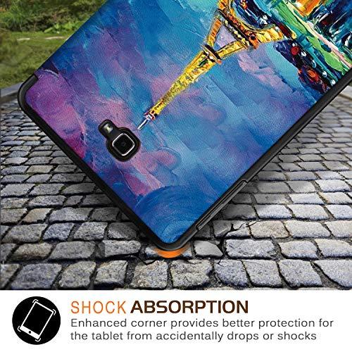 Xuanbeier Ultradünne Hülle Kompatibel mit Samsung Galaxy Tab A 10.1 2016 SM-T580/T585 (A6) Tablette Schutzhülle mit Ständer und Auto Schlaf/Wachen Funktion,Eiffel2