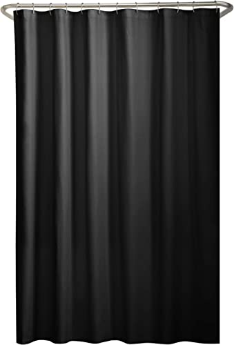 Maytex Tela Forro de Cortina de Ducha, Top Ojal, Negro, Shower Curtain Liner, 1