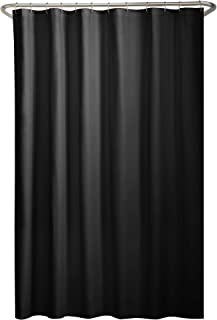 MAYTEX, Black Water Repellent Ultra Soft Fabric Shower Curtain or Liner, Machine Washable, 70 inch x 72 inch, 70