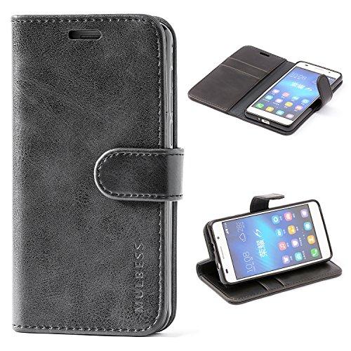 Mulbess Handyhülle für Honor 6 Hülle, Leder Flip Case Schutzhülle für Huawei Honor 6 Tasche, Schwarz