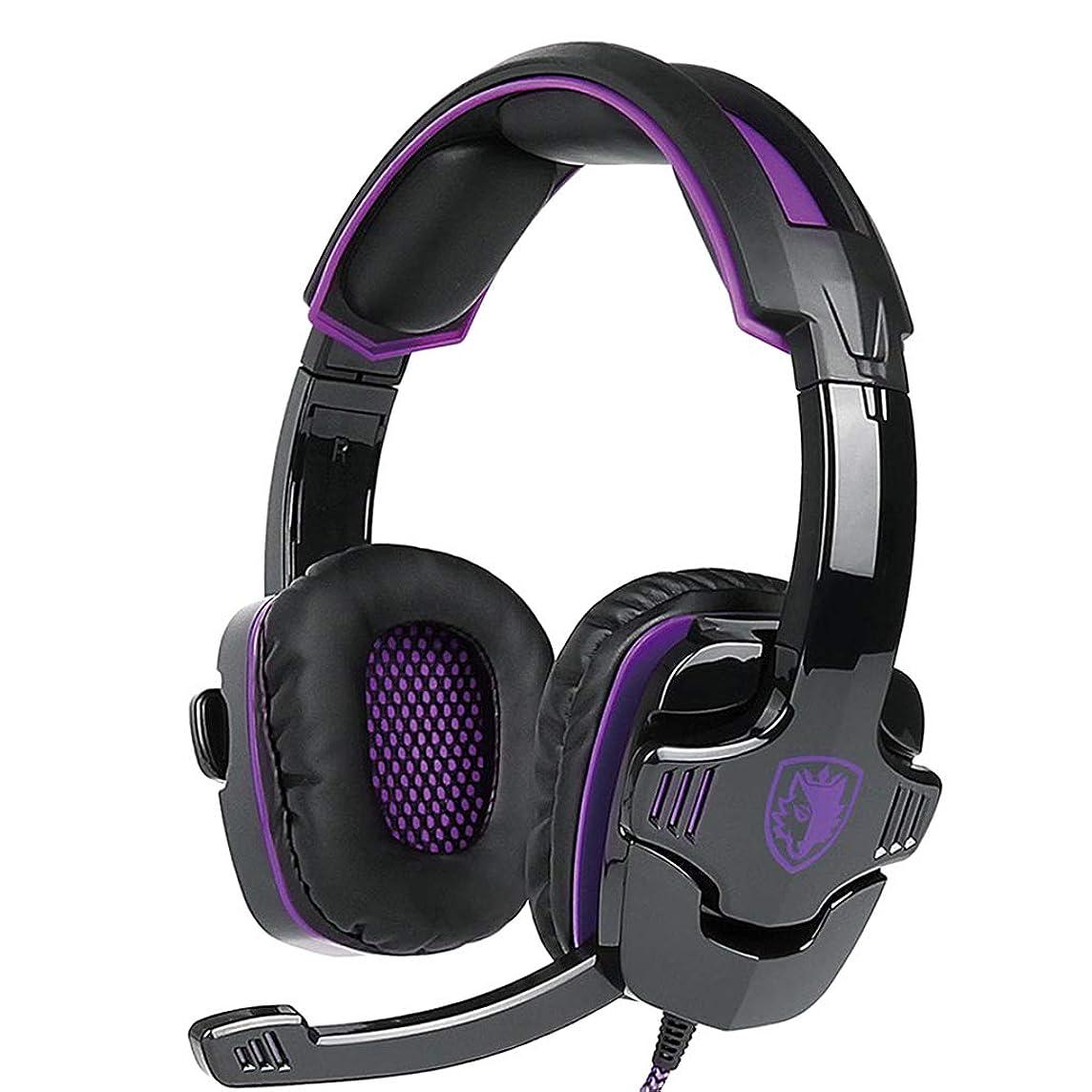 メタン想像力豊かなパーツ3.5mmゲーミングヘッドセット、ステレオ有線PCゲーミングヘッドフォン、ノイズキャンセリングマイク付き、携帯電話タブレットPC用の耳ヘッドフォン - 紫色