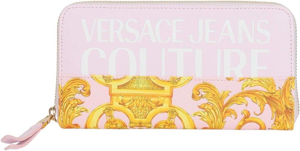 Versace jeans couture, portafoglio per donna, porta carte di credito, 100% poliestere, con stampa barocca E3VWAPG1