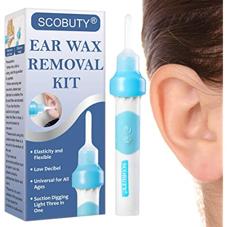 Ear Wax Remover,Electric SuctionQ Grips Ear Wax Cleaners Safe Ear Wax Removal Tool with 1 Replacement Heads,Gently Vibrating to Attract Earwax,Easy Cleaning Ear Cleaners Suitable for Kids/&All Family