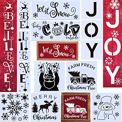 12PCS Reusable Christmas Stencil Believe Stencil JOY Stencil Let It Snow stencil for Painting on Wood,Snowflake Template Baby It's Cold Outside Reusable Porch Sign for Creating Painting Beautiful Wood