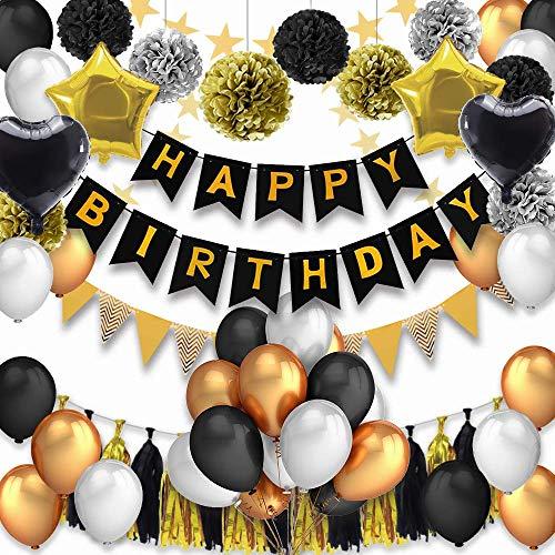 PushingBest Geburtstagsdeko, Geburtstag Dekoration 53 Stück Dekoration Zubehör Safe Material Happy Birthday Banner, Latexballons mit Schwarze /Gold Herzfolienballons Quasten Girlande
