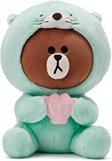 LINE FRIENDS Stuffed Plush Toy - Otto Brown Character Sitting Doll Figure, Mint