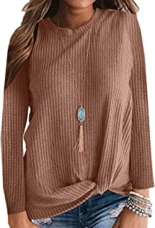 Poulax Women's 3/4 Roll Sleeve Botton V Neck Plaid Tunic Tops Loose Long Knitted Sweater Tunic Dress with Pockets