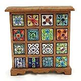 Gall&Zick Cómoda mini armario de madera con cajón de cerámica, 16 cajones, altura aprox. 33 cm