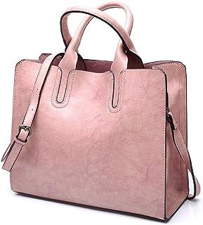 Pahajim PU Leder Handtasche Damen Schulter Einkaufstasche Handtaschen Gross Frauen Umhängetasche Taschen Pink