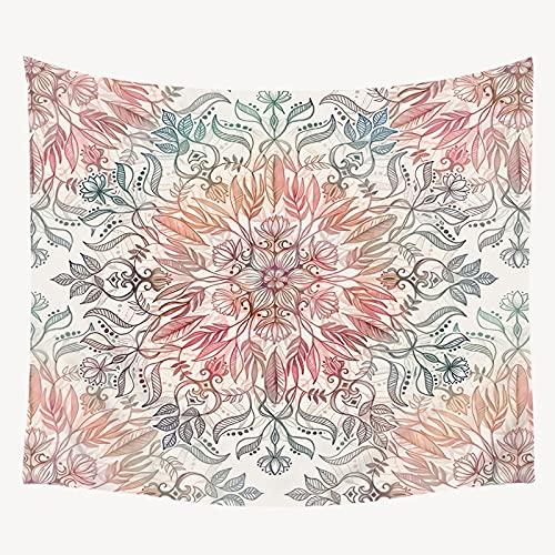 KHKJ Tapiz de Mandala Floral Rosa Decoración de Pared Tapices de Mandala Coloridos Mandala Manta de Playa Estera de Yoga Alfombra Cojín para el hogar A2 150x130cm