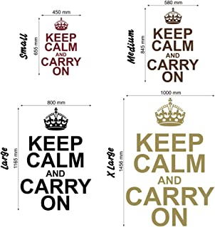 Keep Calm and Carry On - Wall Decal Art Sticker Kitchen Lounge Living Room Bedroom (Color: Metallic Gold Size: Large)