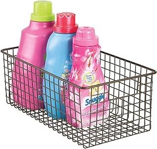 mDesign Deep Metal Wire Laundry Room Storage Organizer Basket Bin Holder with Handles - for Organizing Detergent Powder, Bottles, Dryer Sheets, Fabric Softener - Bronze