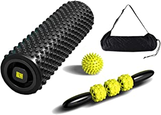 Eco-Friendly Trigger Point Foam Roller Set,High Density Massage Stick and Ball for Deep Tissue Ideal for Releasing Muscles Aching Back Sore Legs for Athletes