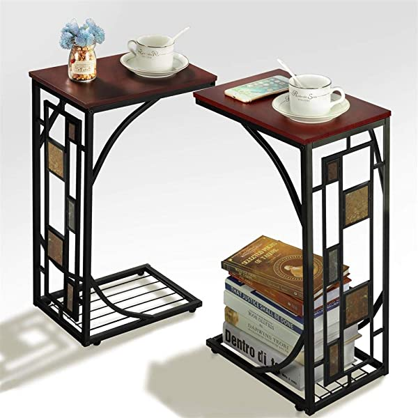 Yaheetech End Tables Snack Table Sofa Side Table Coffee Tray For Living Room Set Of 2