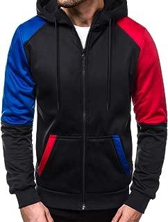 Fastbot Men's Hoodie Zipper up Sweatshirt Fleece Pullover Patchwork Colorblock Coat Jacket Autumn Spring Kangaroo Pocket