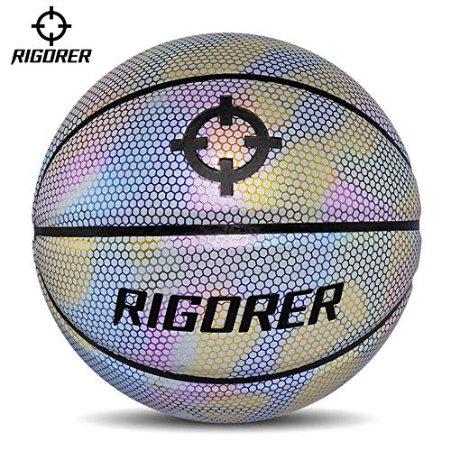 For Sale! YZPXDD 7 PU Reflective Glowing Holographic Luminous Basket Ball- Light Up Camera Flash Glo...