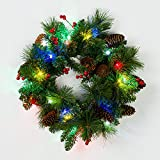 Mr. Light 18 inch Pre-Lit, Decorated Wreath with 20 Multicolor LED's, and Bunches of Red Berries and Pine Cones. Indoor/Outdoor Battery Box + Built-in 6hr/ 24 hr Electronic Timer.