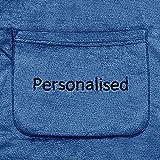 DecoKing Personalisierte Kuscheldecke mit Namen mit Ärmeln 170x200 cm dunkelblau Ärmeldecke Microfaser TV Decke weich Tagesdecke Lazy