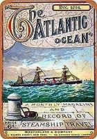 金属看板1884大西洋ジャーナルインチレトロな装飾ティンサインバー、カフェ、アート、家の壁の装飾