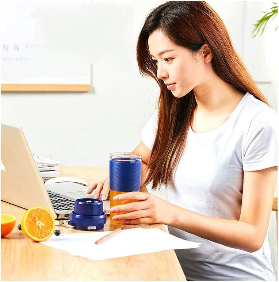 KOKO mini exprimidor eléctrico fruta casera pequeña taza de jugo portátil inalámbrica que carga la taza de cocción Carga USB 150W no contiene bisfenol A-blue Blue