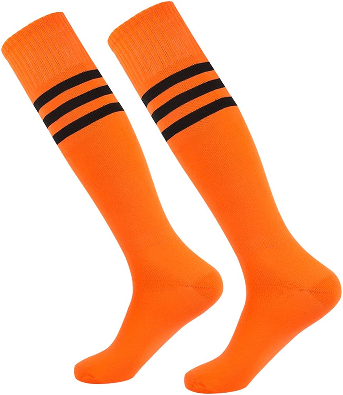 Dodove Unisex Soccer Athletic Knee High Triple Stripe Tube Sock 2 4 6 Pairs