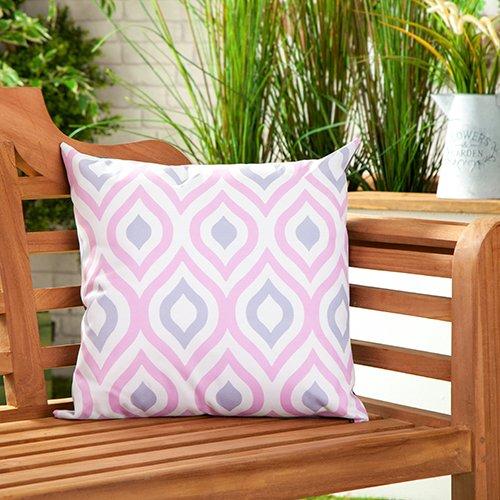 Gardenista Cojín Relleno Resistente al Agua y para Exteriores | Diseño con Patrones Coloridos | Accesorio para Muebles de Jardín| Almohadas Decorativas de | 45 x 45 cm (1 Pieza, Pink/Grey)