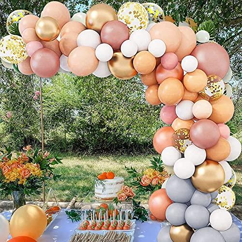 Kit Arco Palloncini, BEILAMI Kit Ghirlanda di Palloncini Arancione Palloncini Oro Rosa Mini Palloncini Bianchi per Ragazze Matrimonio Nuziale Baby Shower Donna Signora Decorazione Festa di Compleanno