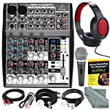 Photo Savings Behringer XENYX 1002FX 10-Channel Audio Mixer with Effects Processor and Accessory Bundle w/Dynamic Mic + Home Recording Guide + 6X Cables + Headphones + Fibertique Cloth