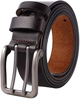 Men's Leather Belt with Double Fastener,Full Grain Real Leather With Anti-Scratch Pin Buckle, Great For Jeans, Casual (Color : Brown, Size : 150cm)