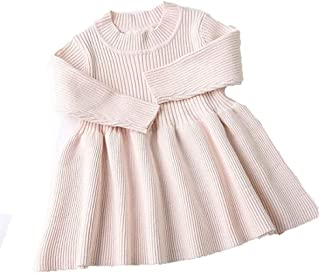 Surprise S Baby Dresses for Girls Autumn Winter Long Sleeved Knit Dress Lotus Leaf Collar Pocket Doll Dress
