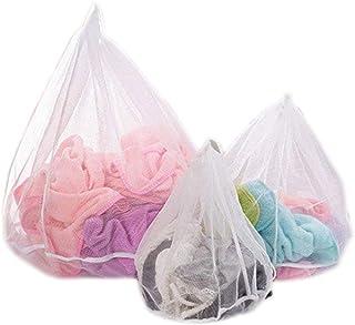 3 Pièce Sacs de lavage en maille pour Delicates, sac de lavage à linge à cordon réutilisable pour soutiens-gorge, lingeri...