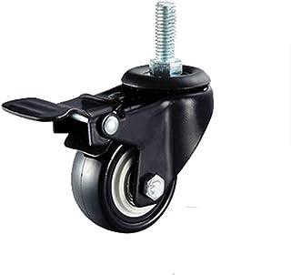 XINHU 1.5 Inch Swivel Casters Wiel 4 stks M8/M12 PU Rubber Swivel Casters Met 360 Graden Elk Wiel Capaciteit 50kg/100lbs M...