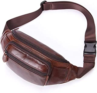 Leather Bag Mens Men's Waist Pack Mobile Phone Bags First Layer Leather Chest Bag Outdoor Sports Bag High Capacity (Color : Brown, Size : S)