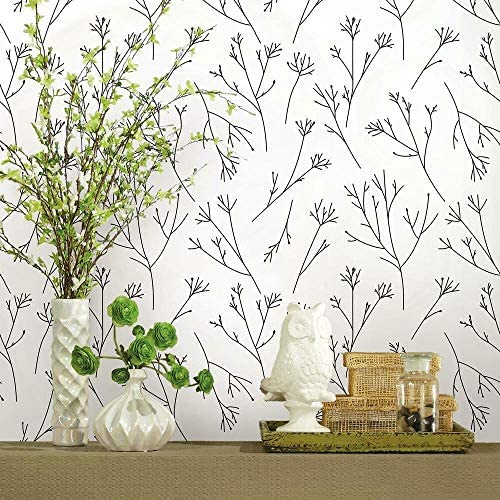 RoomMates RMK11675WP Twigs Black and White Peel and Stick Wallpaper product image