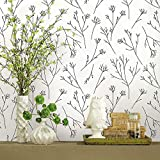 RoomMates RMK11675WP Twigs Black and White Peel and Stick Wallpaper