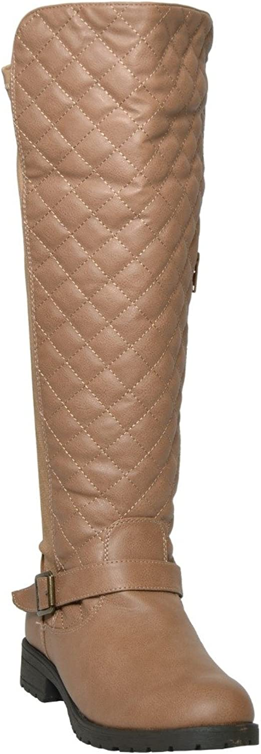 RP By KSC Womens Knee High Boots Quilted Front and Ankle Strap Casual Riding shoes Tan