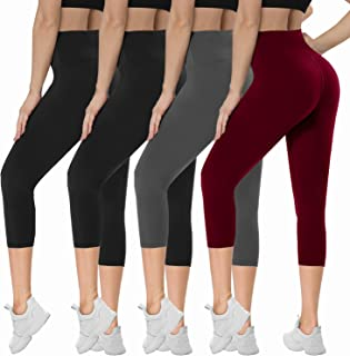 Opuntia 4 Pack Capri Leggings for Women - High Waisted Capris Workout Yoga Pants Tummy Control Running Athletic Tights