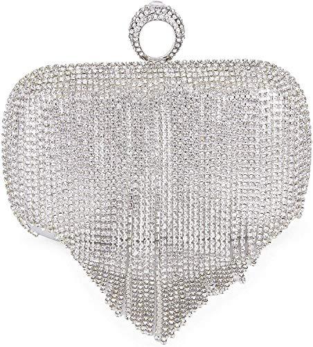 UMREN Damen-Clutch mit Kristallquasten und Strasssteinen, für Hochzeit, Party, Silber (silber), Einheitsgröße