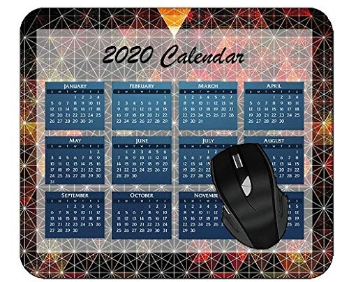 Mouse Pad 2020 Calendar Triangle Abstract Digital Art Material Red Colorful Year 2020 Calendar Mouse Pad