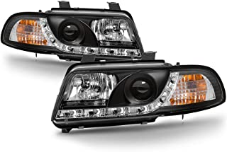 [For 1996-1999 Audi B5 A4] Black Housing LED Strip DRL Projector Headlight Headlamp Assembly, Driver & Passenger Side