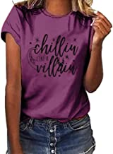 aihihe Women Short Sleeve T Shirts Tops Tunic Letter Print Blouse Crew Neck Loose Casual Tee T-Shirt Halloween Tops