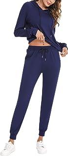Akalnny Survêtement Femme 2 Pièce Ensembles Sportswear Suit à Capuche + Pantalon Sports Pyjama Tenue d'Intérieur pour Casu...