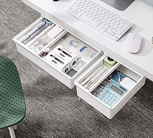 Cajón oculto debajo del escritorio,Organizador de escritorio autoadhesivo duradero,Deslice suavemente cajón de papelería,Bandeja de cajón de escritorio resistente para estudiantes