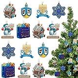 24 Pieces Hanukkah Ornaments Gingerbread Hanukkah House Jewish Dreidel Jewish Menorah Hanukkah Snowman 6-Pointed Star Happy Hanukkah Present Bag Ornaments for Holiday Christmas Tree Decors