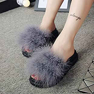 Customer reviews Lamdoo Women Fashion Slippers Summer Autumn Plush Flip Flips Flat Shoes Faux Fur Sandal Gray Size is 38:Dailyvideo