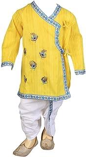 FOCIL Raksha Bandhan, Janmashtami Special Yellow Peacock Feather Embroidery Kurta and Dhoti Pant Set for Kids