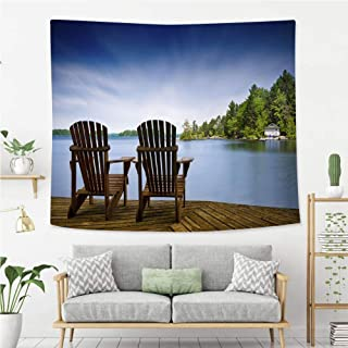 BEIVIVI Creative Custom Tapestry Wood Muskoka Chairs on a Lake Deck Wall Art Decoration for Bedroom Living Room Dorm, Window Curtain Picnic Mat
