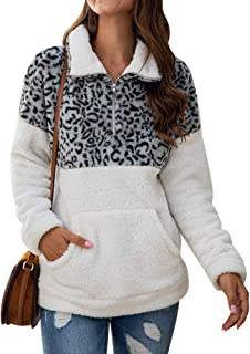 Uni Clau Women's Leopard Camo Long Sleeve 1/4 Zipper Sherpa Fuzzy Fleece Pullover Outwear Coat Sweatshirt with Pocket